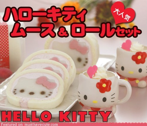 cake,cream,dessert,epicute,hello kitty,roll