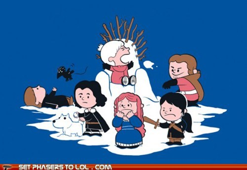 a song of ice and fire art charlie brown Game of Thrones ghost Jon Snow peanuts - 6066175232