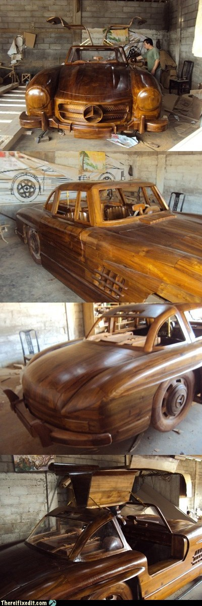 1955 carving g rated gullwing mercedes benz teak there I fixed it wood woodworking woody wagon - 6066217728