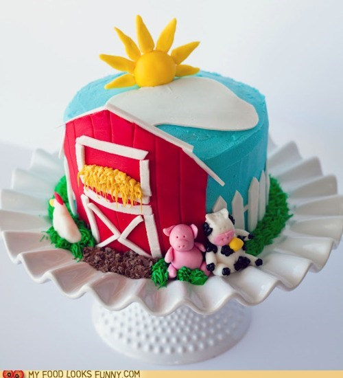 barn cake farm fondant frosting - 6066338816