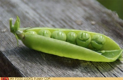 faces peas pod smile