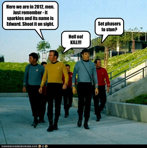 Captain Kirk DeForest Kelley edward hell no james doohan kill Leonard Nimoy McCoy mission phasers redshirts scotty Shatnerday shoot Spock Star Trek stun William Shatner - 6066486784