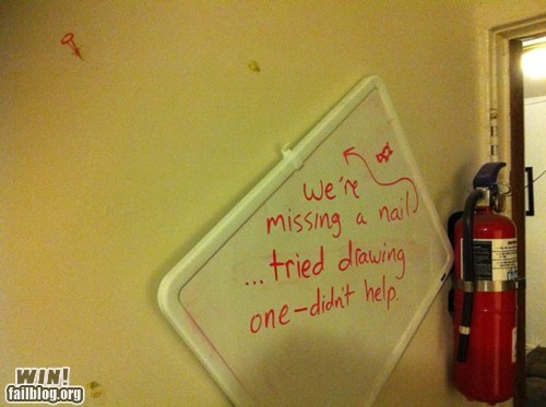 fix,nail,wall,white board