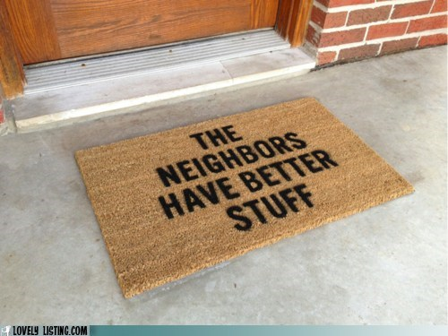 doormat,message,neighbors,steal,thief