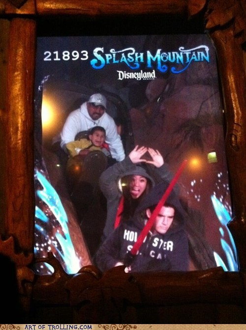 IRL lightsaber photobomb roller coaster splash mountain