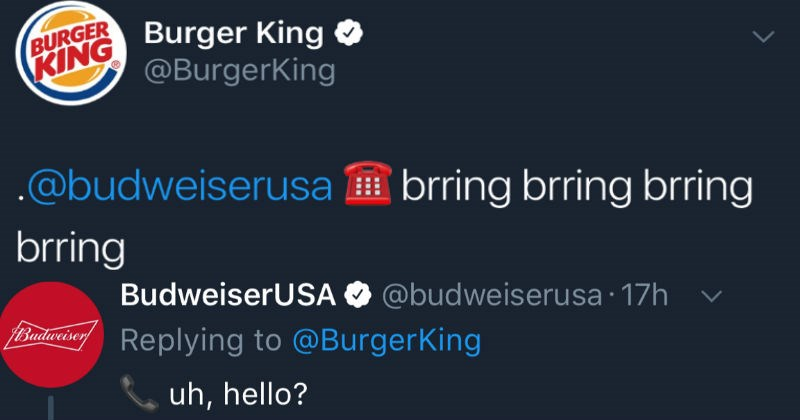 burger king and budweiser troll twitter