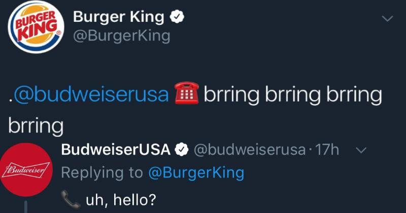 burger king and budweiser troll twitter