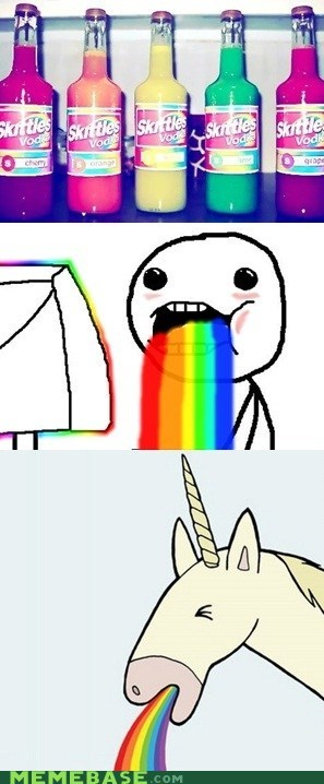 Rage Comics,rainbow,skittle,taste,unicorn,vodka