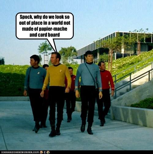Captain Kirk cardboard cheap DeForest Kelley james doohan Leonard Nimoy McCoy out of place scotty sets Shatnerday Spock Star Trek William Shatner - 6069414656