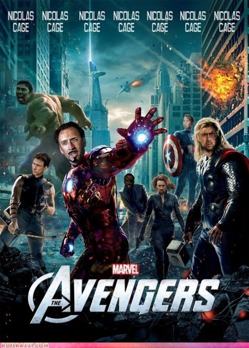 actor celeb fake funny Movie nic cage nicolas cage poster shoop The Avengers - 6069729280