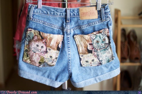 Cats denim hipster ironic shorts - 6069757440