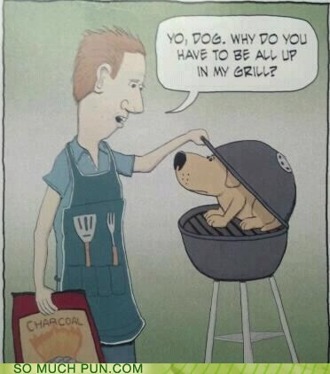 dogs,double meaning,grill,Hall of Fame,literalism,slang,up