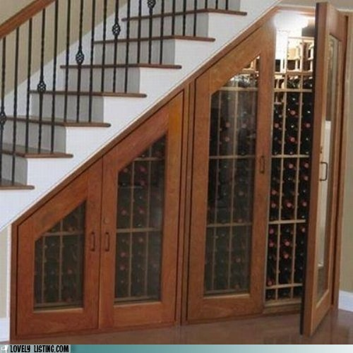 cabinet collection dursleys Harry Potter stairs wine
