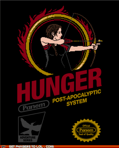 8 bit,box art,hunger games,katniss everdeen,NES,nintendo,panem,post apocalyptic