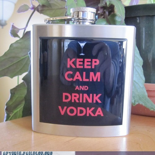 flask keep calm and carry on power goblet vodka