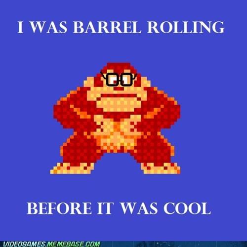 barrel rolling donkey kong hipster meme - 6070388736