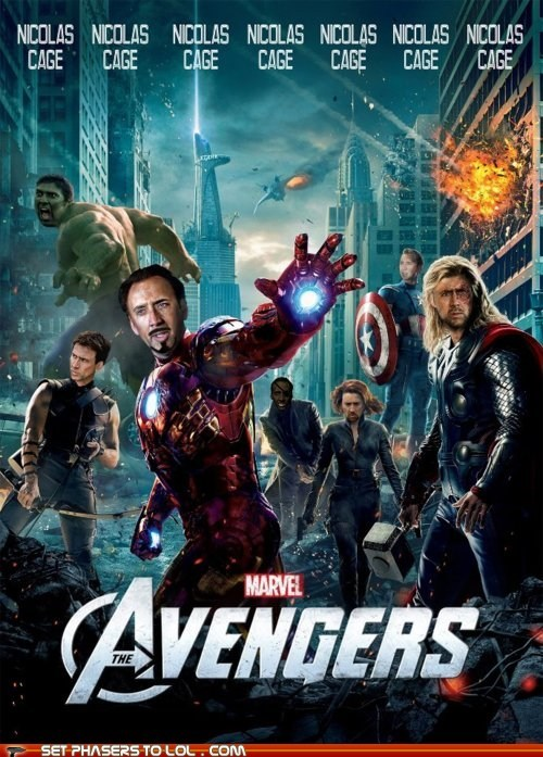 avengers,best of the week,black widdow,face swap,hulk,iron man,movie poster,nicolas cage