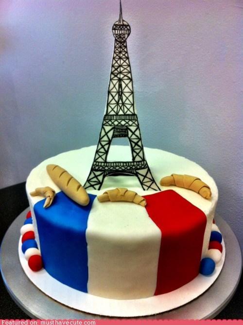 baguettes,cake,croissant,eiffel tower,epicute,flag,fondant,france