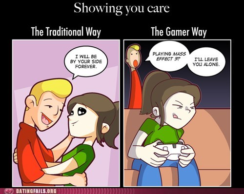 comics,dating fails,g rated,gamer way,mass effect 3,showing you care,traditional way