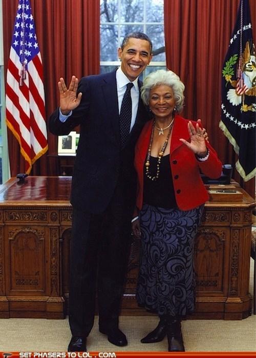 barack obama,live long and prosper,Nichelle Nichols,president,Star Trek,uhura,vulcan salute