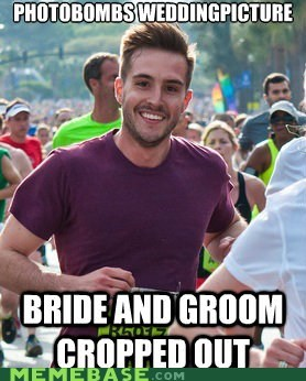 Memes,photobomb,photogenic guy,runner,wedding