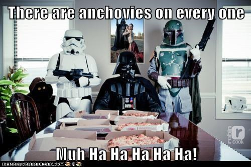 anchovies,boba fett,darth vader,evil,evil laugh,mwahaha,pizza,star wars,stormtrooper