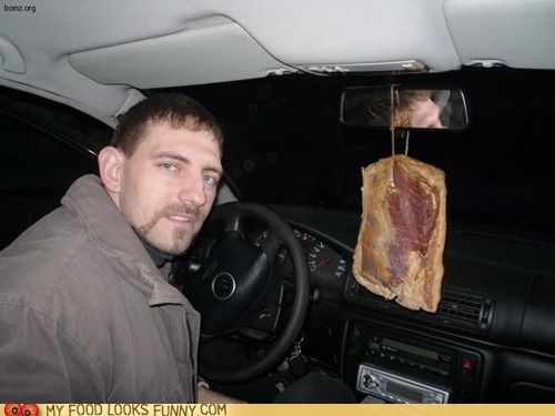 air freshener,bacon,car,pork,pork belly,slab