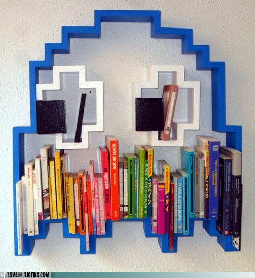 blue,bookcase,books,ghost,pac man,shelves