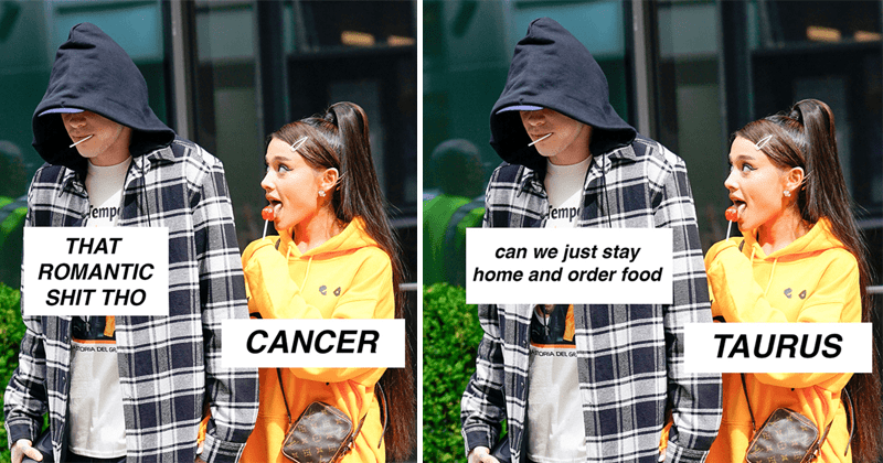 Funny astrology memes featuring ariana grande and pete davidson.