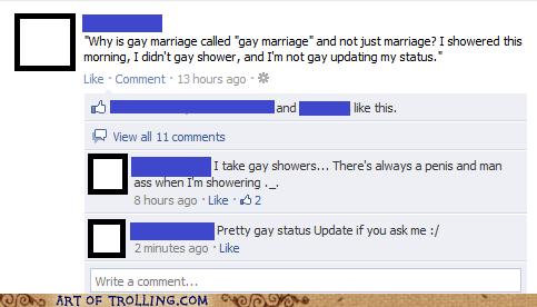 facebook gay peen status