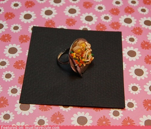 Jewelry,meal,miniature,noodles,ring,veggies