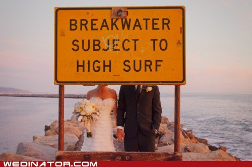 funny wedding photos,ocean,pose,sign,surf,water