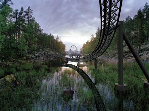 Forest,river,roller coaster