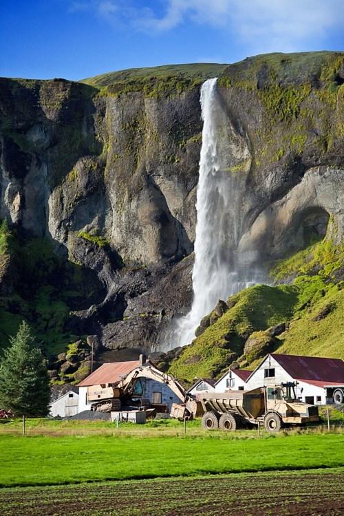 alaska,cliff,farm,waterfall