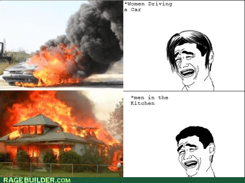 driving,kitchen,men vs women,Rage Comics