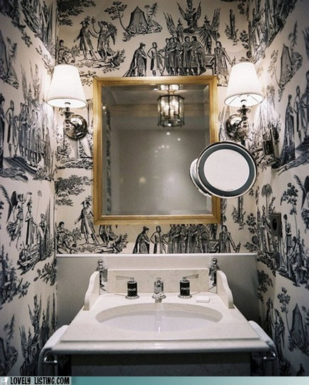bathroom,mirror,pattern,sink,wallpaper