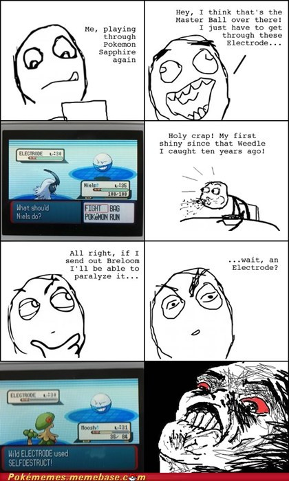 electrode,master ball,rage comic,Rage Comics,shiny,two steps away