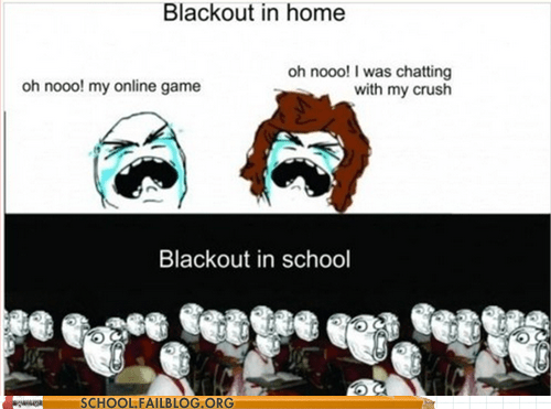 blackout in school,everybody panic,Rage Comics