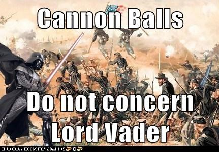 cannon ball,civil war,concern,darth vader,Fan Art,lightsaber,painting,star wars