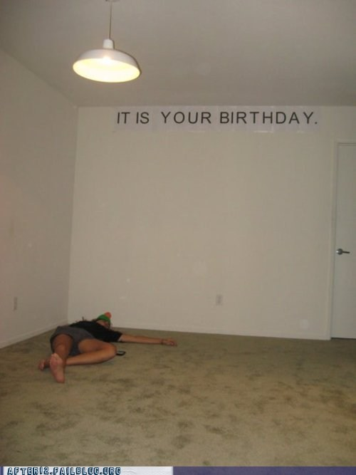 birthday,empty,Party,passed out,prank