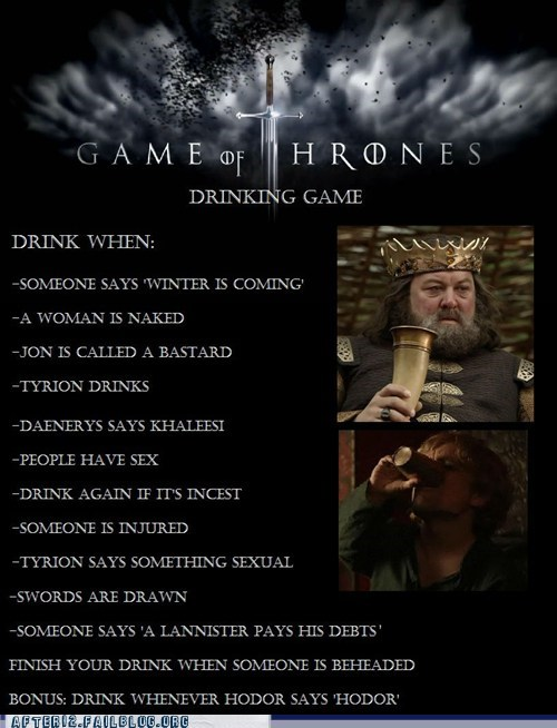 after 12 drinking game Game of Thrones nerdgasm pop culture shots