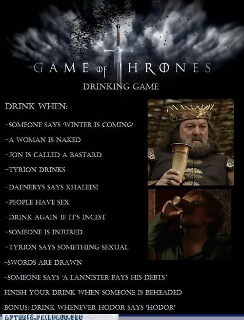 after 12 drinking game Game of Thrones nerdgasm shots - 6075565824