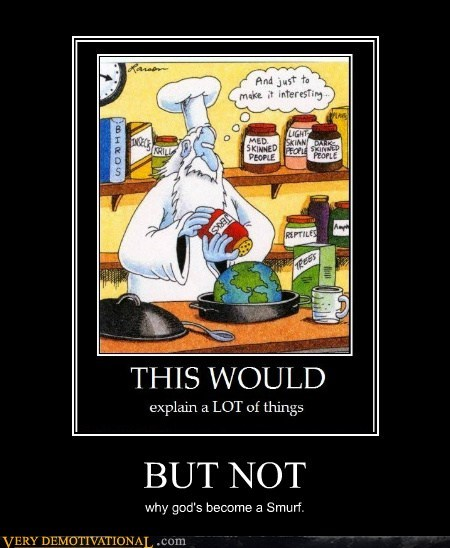 Far Side,god,hilarious,smurf