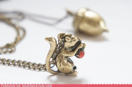 chain gold necklace pendant squirrel