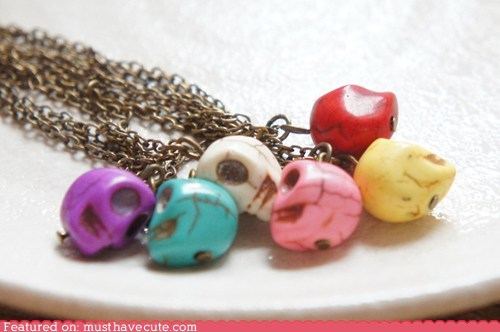 beads chain colorful necklace skulls - 6077106432