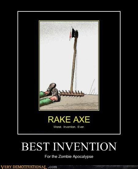 apocalypse axe hilarious rake zombie - 6077807616