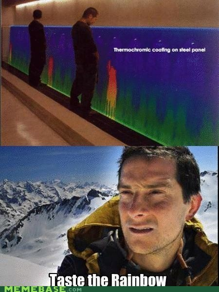bear grylls,panel,peeing,rainbows,steel,thermochrome