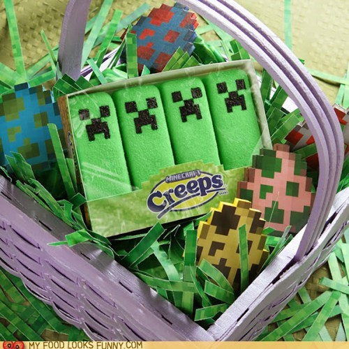 creeps,easter,marshmallows,minecraft,peeps,sugar