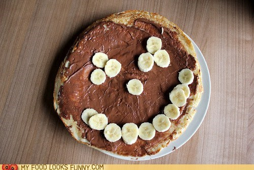 bananas,face,nutella,smile,tortilla