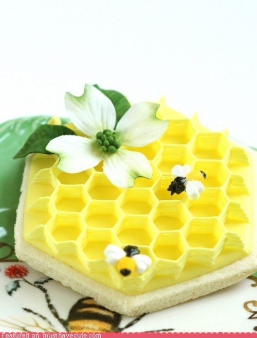 bees cookies dogwood epicute honeycomb sugar flower - 6079004928